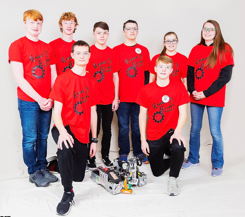 These students represented North Scott at the Robotics super qualifer competition in Iowa City. Kneeling: Isaac Simmons and Austin Lee. Standing (l-r): Cole Voshell, Mitchell Mess, Duggan Kohnlein, Ephram Huscko, Adriana Phillips and Delaney Norris.