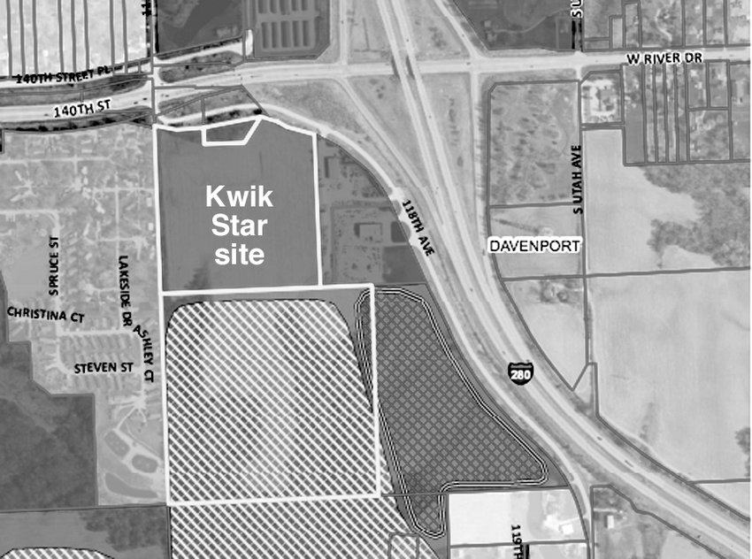 This final Kwik Star plat shows the 23.6-acre lot to the north to be developed as a gas station and convenience store. The 40-acre lot to the south has about 15 tillable acres that will continue to be rented for crop production.