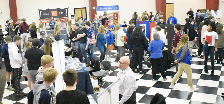 More than 350 students from Wilton and Durant high schools were able to meet with representatives from 34 area businesses during the third annual career fair held March 5 at the Wilton Community Center.