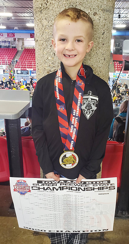 Karson Ellenberg wrestled in the 48-pound kindergarten class at Iowa AAU Super Pee Wee State held in Waterloo March 7. He went 6-0 on the day and won a state championship in his weight class.