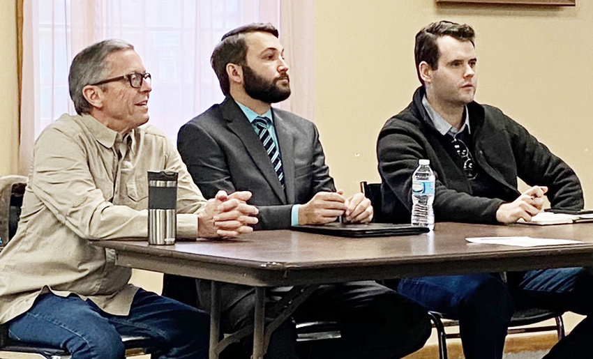 From left, moderator Mike Shuger, state Rep. Bobby Kaufmann (R-Wilton) and Sen. Zach Wahls (D-Coralville) are shown during a political forum held in downtown Wilton March 14 at the Community Room. The event was hosted by the Wilton Chamber of Commerce.