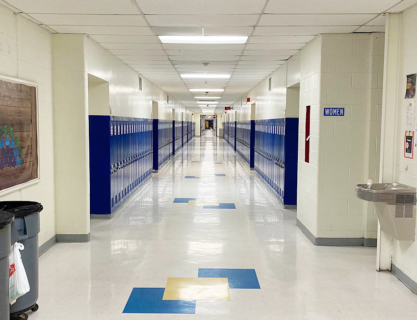 The regular school board meeting at Wilton was held just four days prior to shutting down the school for four weeks on the recommendation of Iowa Gov. Kim Reynolds. The main hallway of Wilton High School is shown above on March 16, the first day of the 4-week shutdown.