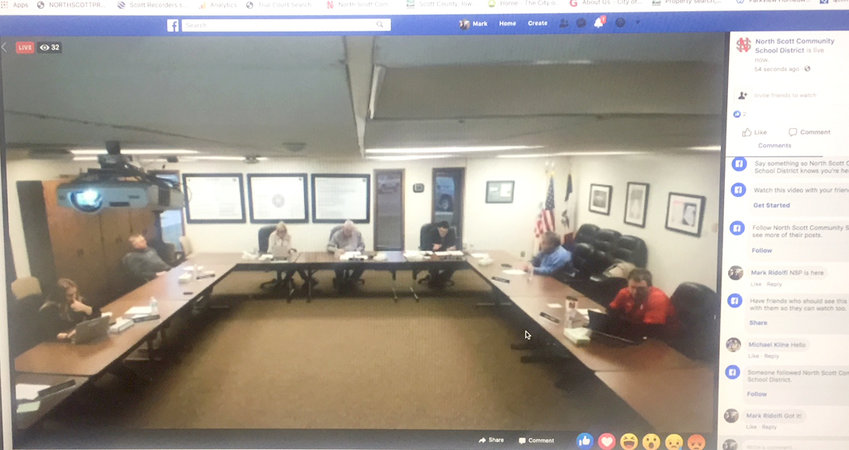 North Scott School Board members held their first meeting live-streamed on Facebook, an accommodation to the community's virus response.