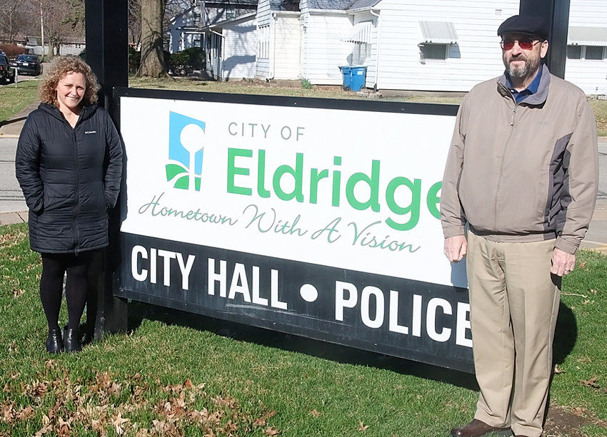 Lisa Kotter (l) is officially Eldridge's city administrator after John Dowd retired on Tuesday after 30 years of service to the city.