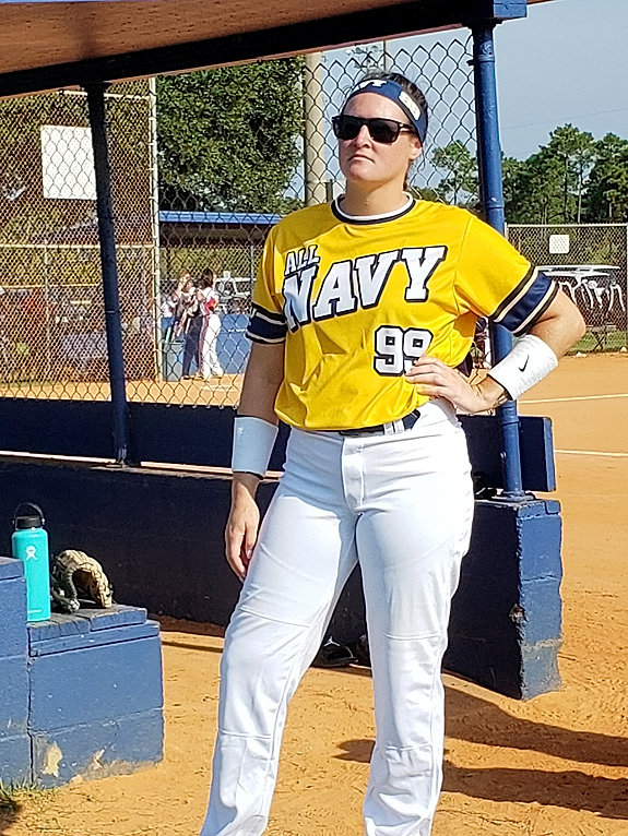 Kacey Denison, North Scott's 2011 Homecoming Queen, plays on the United States Navy's softball team.