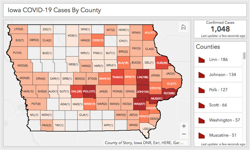Total COVID-19 cases in Iowa as of April 7, courtesy of the Iowa Department of Public Health.