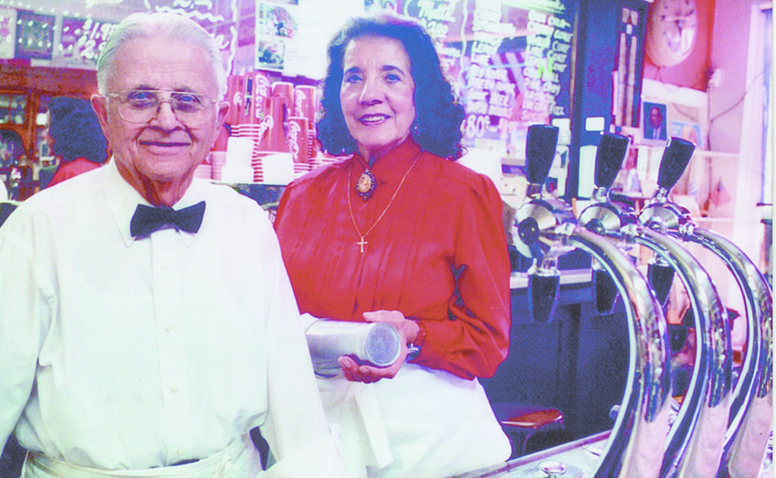 Thelma Nopoulos (right) longtime owner and operator of the Wilton Candy Kitchen with her late husband George (left) died April 29 at the age of 88. Thelma worked in the Candy Kitchen from the time she was 10 years old until George's passing in 2015. She later sold the business to Lynn and Brenda Ochiltree in 2016.