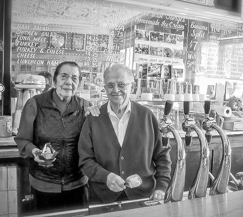 Thelma and George Nopoulos shown inside the historic Wilton Candy Kitchen