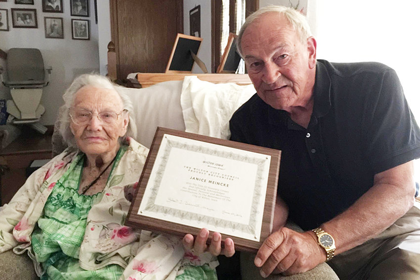 Honorary Wilton citizen—Janice Meincke of Walcott received a visit from Wilton mayor Bob Barrett June 29, 2016, where she was presented with a wooden plaque naming her an honorary citizen of the city of Wilton. Meincke made numerous charitable donations to city projects in recent years