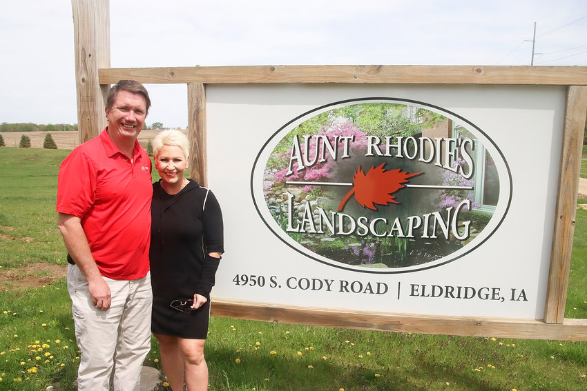 "Todd and Mandy Wiebenga have owned Aunt Rhodie's Landscaping since 2001, but consolidated their business to a new location in Eldridge a year ago. The company's name comes from the fact that the previous owner had a passion for growing rhododendrons, which in the trade are known as ""rhodies."" The actual name came from the old song, ""Go Tell Aunt Rhodie."""