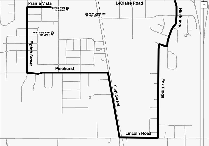 Parade Route: West on Prairie Vista to South Eighth Street. South on Eighth Street to Pinehurst. East on Pinehurst to South First Street. South on First Street to Lincoln Road. East on Lincoln Road to Fox Ridge. North on Fox Ridge to East Hickory Street. East on Hickory one block to South Ninth Avenue. Ends on Ninth Avenue at East LeClaire Road.