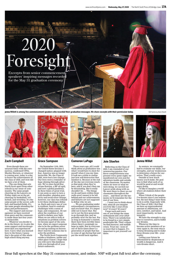 2020 Foresight: Excerpts from NSHS 2020 student graduation speeches