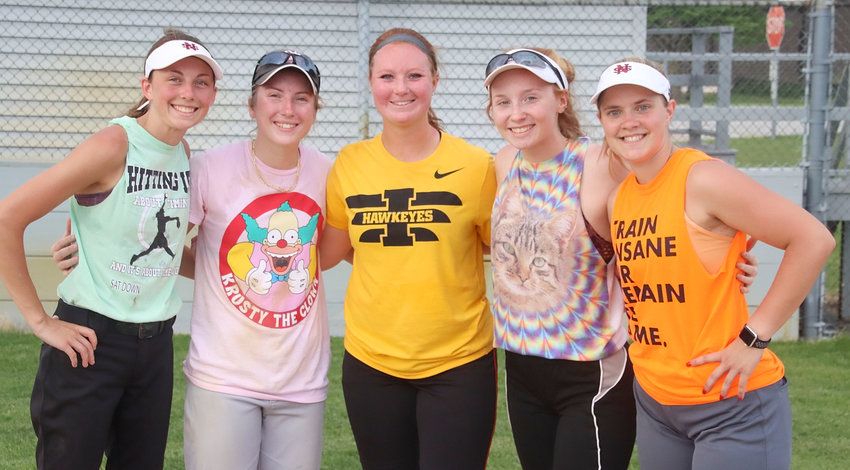 North Scott returns eight starters from last year's state tournament team, including seniors (l-r) Brooke Kilburg, Sam Lee, Drew Lewis, Alexis Beadle and Rachel Anderson.