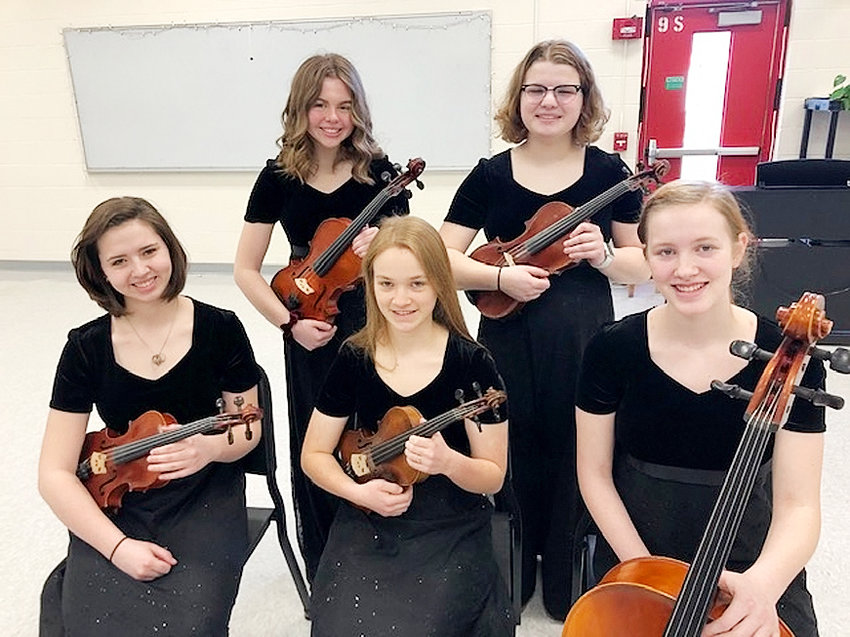 Five high school students were accepted into the ISTA (Iowa String Teachers Association) State honor orchestra after participating in the local SEISTA (South Eastern Iowa String Teachers Association) honor orchestra. Front (l-r): Torrance Foit (violin), Charis Gonyo (violin) and Aviana Holst (cello). Back: Kaitlyn Wood (viola) and Katie Allen (violin).