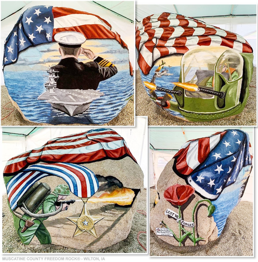"Images of the Muscatine County Freedom Rock, located in downtown Wilton near the historic Wilton Depot. The photos were taken by Freedom Rock artist Ray ""Bubba"" Sorensen II upon completion. The rock is now wrapped and not visible to visitors. An official unveiling is planned for Sept. 6."