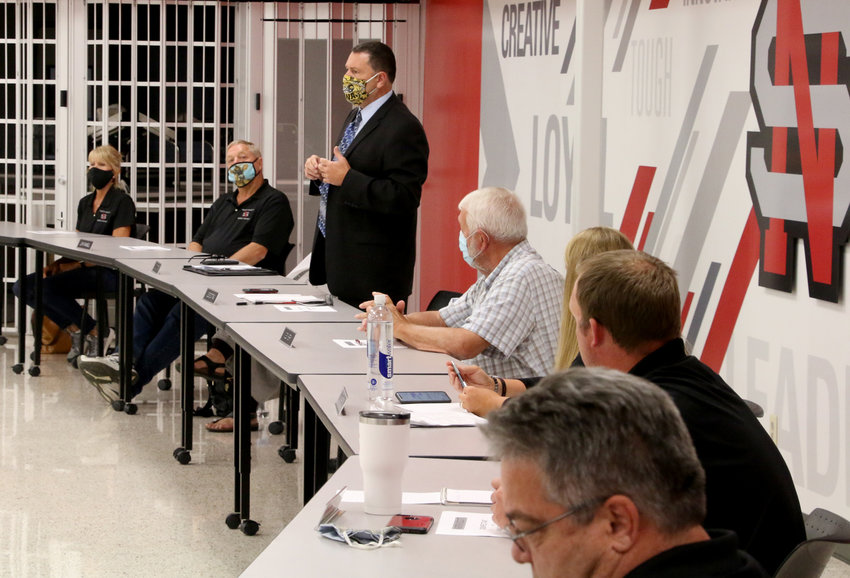 North Scott schools superintendent Joe Stutting and the full board heard from 17 speakers at a Tuesday, July 28 forum in the high school cafeteria.