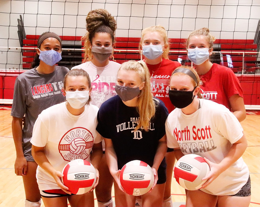 North Scott's veterans are all masked up and ready to roll. Front (l-r): Madison Wiebel, Brooklyn Harvey and Kaylee Gerardy. Back: Gracie Graham, Olivia Young, Molly Engler and Ella McLaughlin.