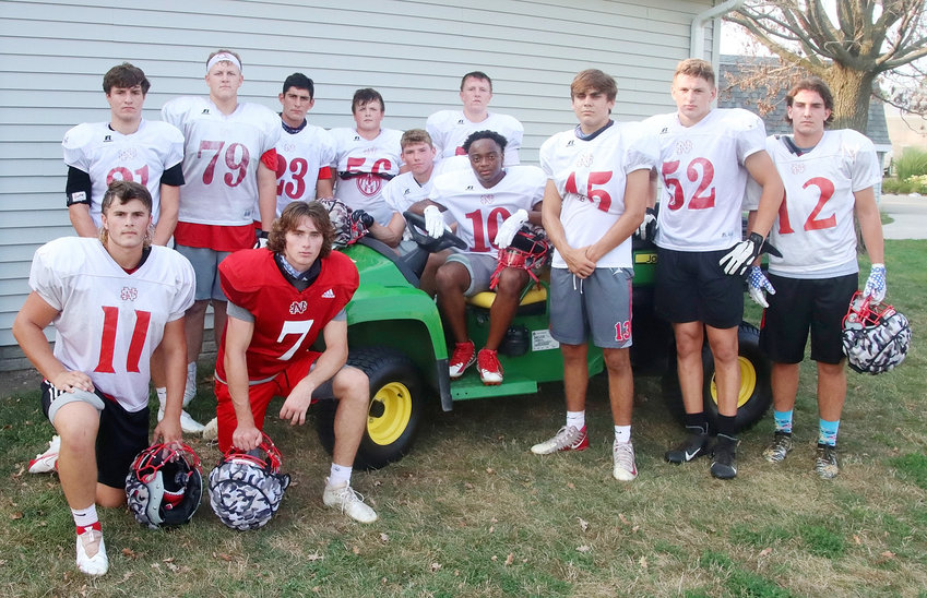 North Scott's team captains will be chosen from this group of players who applied by writing resumes and getting a letter of recommendation from a North Scott teacher. Front (l-r): Cooper Frank, Carter Markham, Max Solis, Marquan Quinn, Dominic Miller, Joey Petersen and Parker Ruth. Back: Grant Moeller, Kaeden Mickey, Ryan Campbell, Ty Murphy and Kade Tippet.