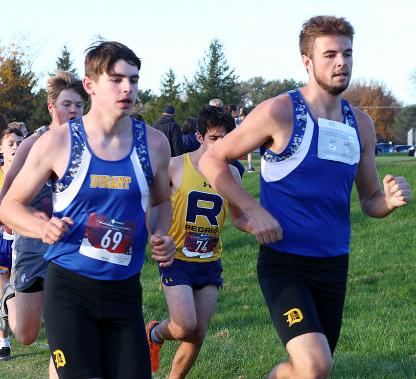 Nathan Moomey and Braden Wagner of Durant are shown in the RVC race at Monticello.