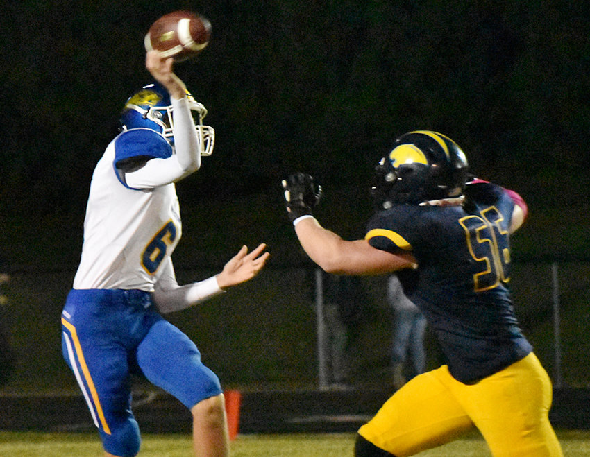 Aidan Walker started at quarterback for the Beavers in road playoff action at Cascade Oct. 16.