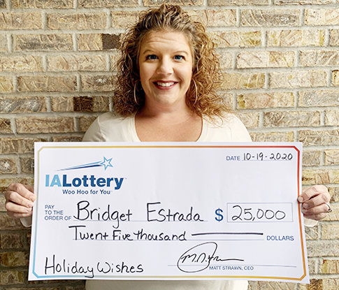 "Bridget Estrada won the first top prize in the Iowa Lottery's ""Holiday Wishes"" scratch game. She purchased her winning ticket at Casey's, 595 N. Kansas Ave. in North Liberty, and claimed her prize Oct. 19 at the lottery's Cedar Rapids regional office. Holiday Wishes is a $20 scratch game that features 13 top prizes of $25,000 and overall odds of 1 in 2.64."