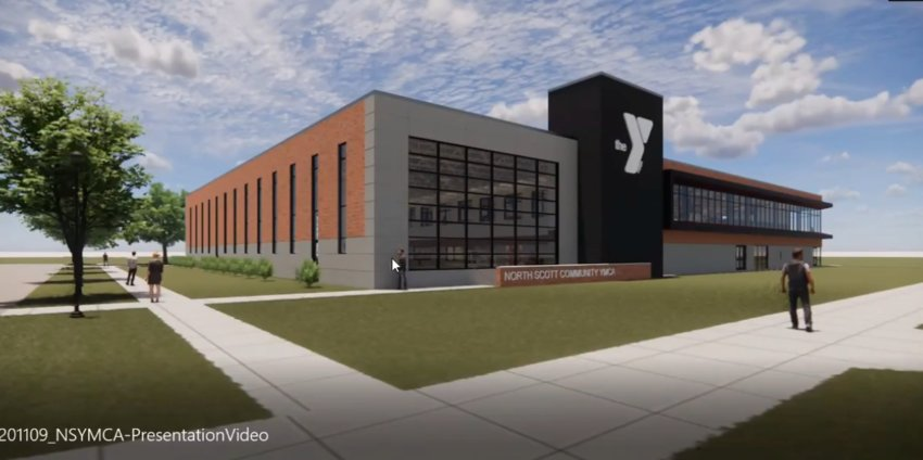 New architect drawings show the northeast exterior of the North Scott YMCA in Eldridge