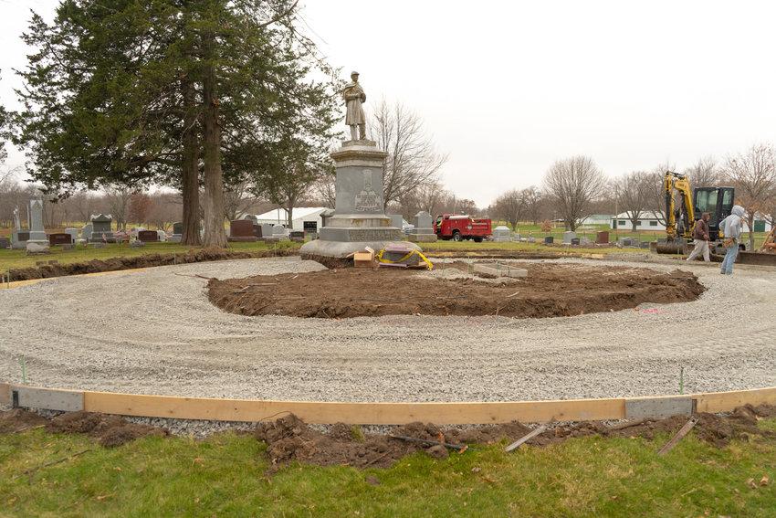 Workmen create a new area in Oak Ridge Cemetery to install  Columbariums.