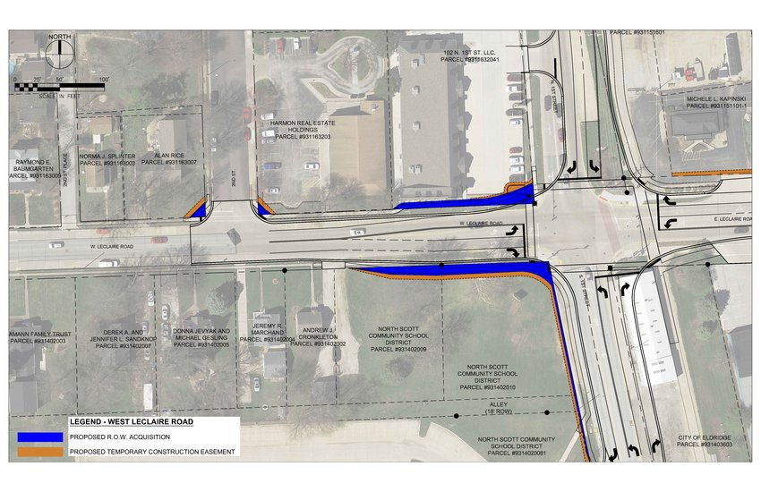 A map of permanent right-of-way, and temporary construction easements needed for Eldridge's $3.7 million widening of First Street and LeClaire Road project.