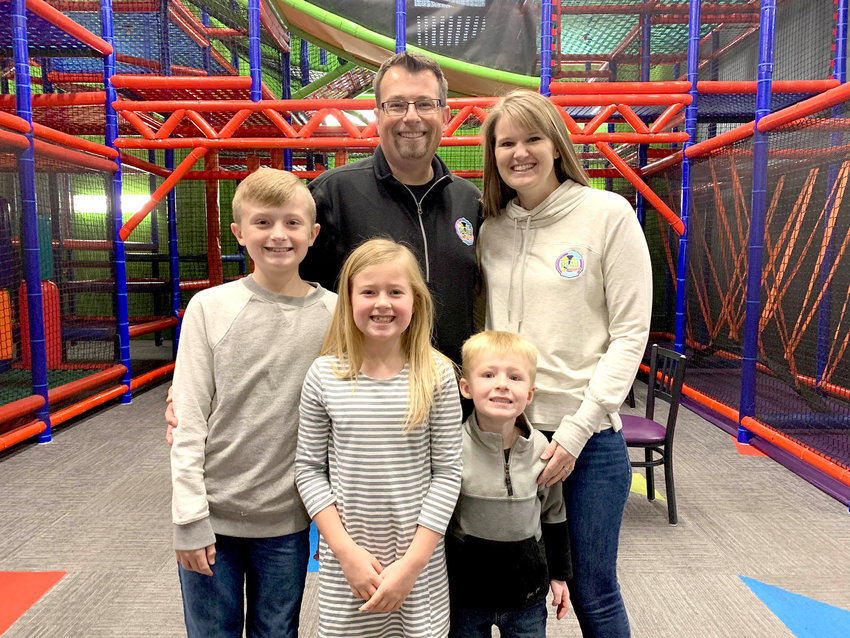 Nick and Brittney Edwards, with children Kade, Peyton and Jace, are transforming Helium trampoline park into The Play Station in Eldridge.