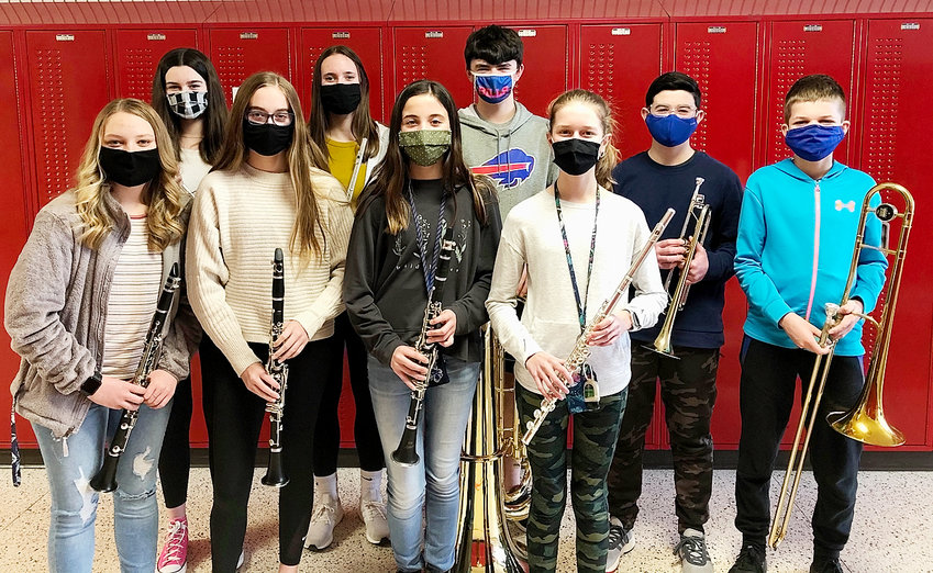 Selection for the Junior High Honor Band were, front (l-r): Kyla Stone, Lani Postel, Kennadi Thiessen, Sydney Groene and Zachary McMann. Back: Savannah Skinner, Emee Allard, Kelan Gamet and Gustavo Pérez-Espina.Not pictured: Collin Meinert. Special recognition to Pérez-Espina (trumpet) and Gamet (tuba, alternate) for being selected to the Iowa Bandmasters Association 8th Grade Honor Band.