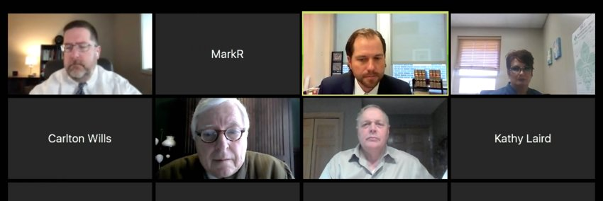 John Maxwell's online court hearing. Top row: Maxwell's attorney Alan Ostergren, Judge Patrick McElyea. Bottom row: petitioners' attorney James Larew, and John Maxwell.
