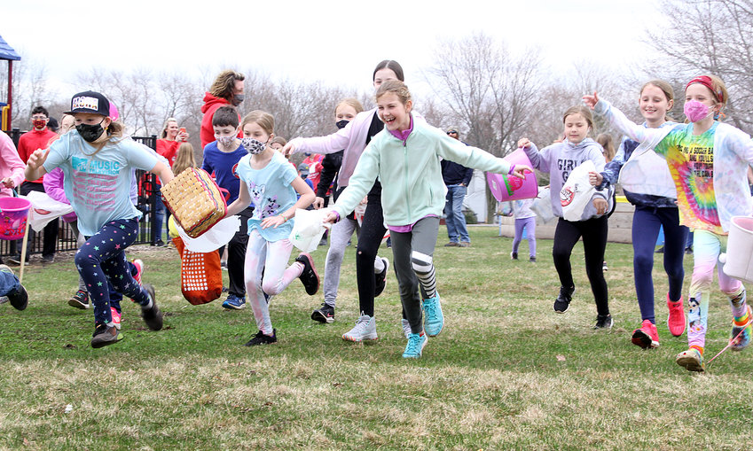 Park View kids start their annual Easter Egg hunt, March 27.