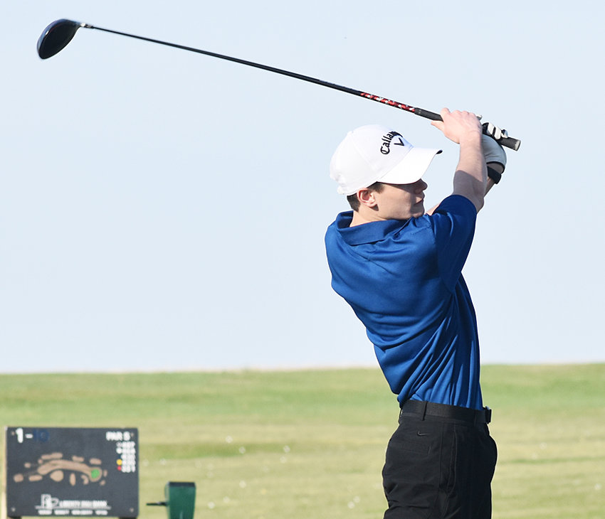 Gage Oien of Wilton tees off hole No. 7 at Wahkonsa Country Club in the first home action of the season.