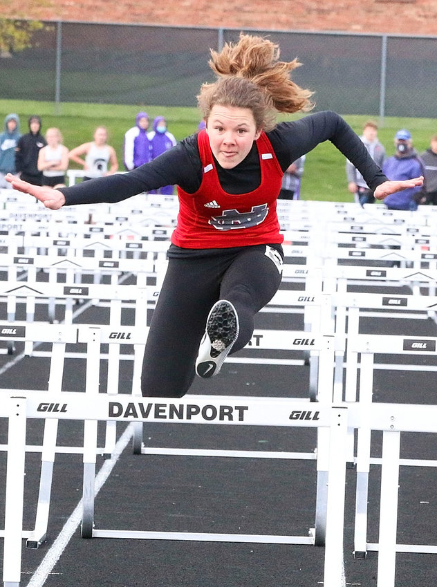 North Scott freshman Kaci Johnson anchored North Scott to a first-place finish in the shuttle hurdle relays at the Jesse Day Relays.