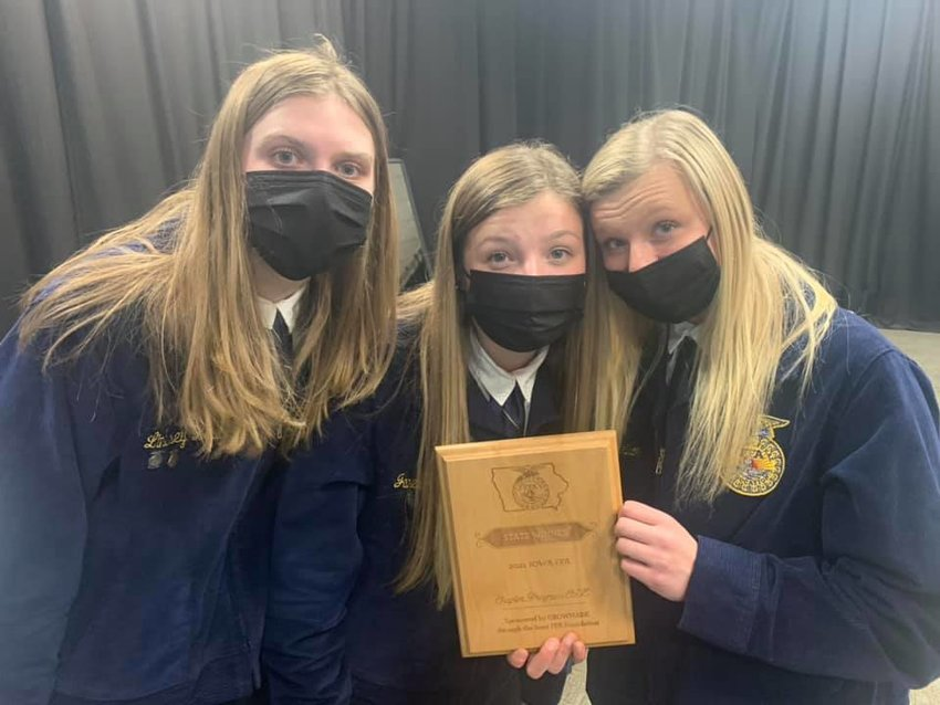 This group won the state title for Chapter Program of Activities, presented by Lindsay Laughlin, Isabel Morrison and Janey Gingerich, is showing all the activities of the group through the year, a cooperative effort with the West Liberty Index and area businesses supporting the local FFA programs.