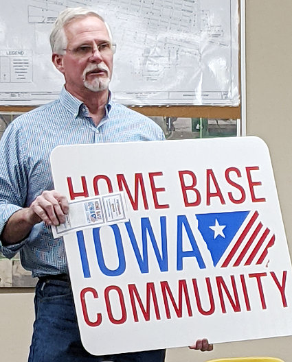 Cedar County Supervisor Jon Bell was present at the April 26 Durant council meeting to present the city with signage for being a Home Base Iowa Community, a program aimed at helping veterans who are new to the area.