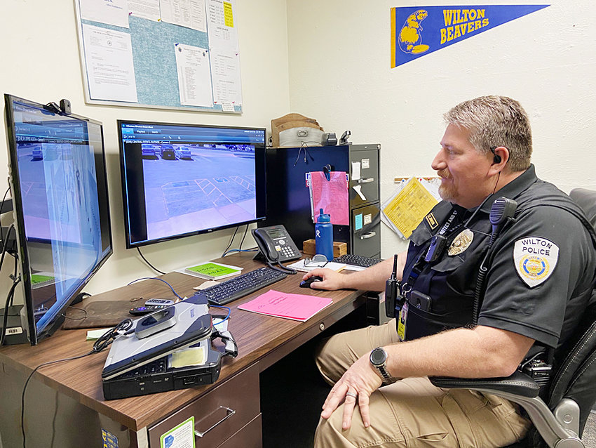 Wilton Police Sgt. Todd Johnson became Wilton School District's School Resource Officer in February. He'll spend the school year as the school's resource officer and continue his police work with the city of Wilton in the summers. He's shown above in his office at school, where he can monitor all the cameras on campus.