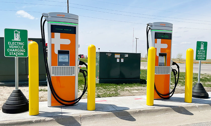 """Iowa 80 Truckstop in Walcott, the World's Largest Truckstop has installed two DC fast ChargePoint EV charging stations. The installation is now up and running and positioned just north of the gas islands on the property. These are universal chargers that can charge any brand of electric vehicle to 80 percent in 20-30 minutes. The EV charging stations are self-service and easy to operate. Guests will be able to pull in, plug in and be free to eat and shop while their vehicle charges. Find out more on the ChargePoint App and website. """"We have been working on this project for quite some time and are excited to now be able to offer this convenience to our customers,"""" says Delia Moon Meier, Senior Vice President. """"For those traveling across Interstate 80, our charging stations are located in the perfect spot between Chicago and Des Moines."""" Iowa 80 began this project over a year ago by first installing a substation that can provide 760kw of charging power to EV chargers; providing the option to add more charging stations in the future."""