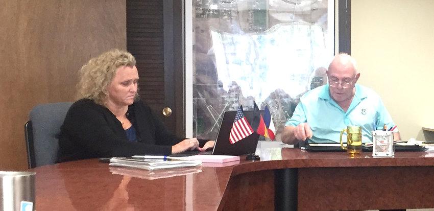 Eldridge city administrator Lisa Kotter, and mayor Marty O'Boyle at the May 7 committee meeting at City Hall.