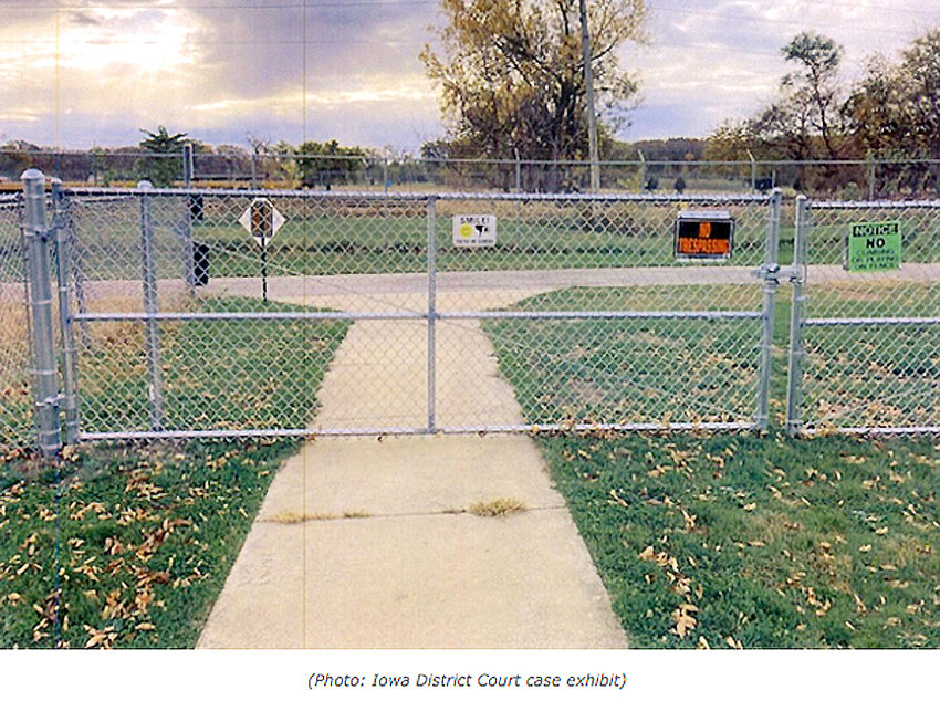 Last summer, the city of Riverdale constructed this fence and gate between the 3,000-mile Mississippi River Trail and the 15-mile Duck Creek Trail that runs through the Iowa Quad Cities.