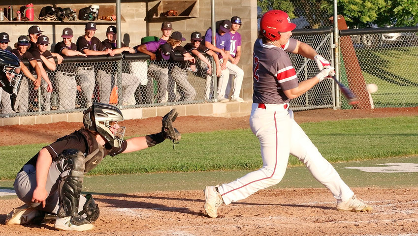 North Scott senior Parker Ruth delivered the first extra base hit of the season with this second inning double against Iowa City Liberty on Wednesday.