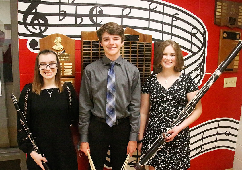 North Scott band students who earned Division I ratings at the Iowa High School Music Association small group and solo contest included (l-r): Adrianna Phillips, Connor McMann and Savanna Connor.