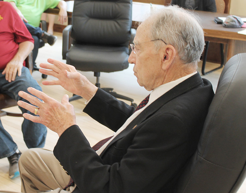 Senator Chuck Grassley (R-Iowa) is shown above during a Muscatine County stop in Wilton June 2, where he met with and took questions from business leaders and constituents.
