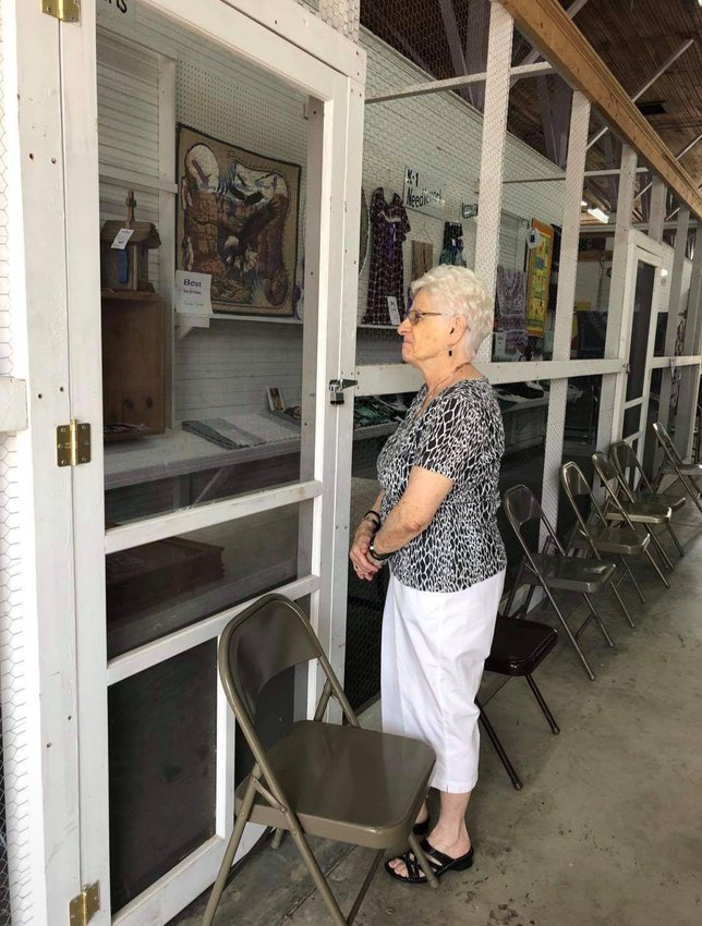 Marilyn Henderson cehcks out a display at the Muscatine County Fair.