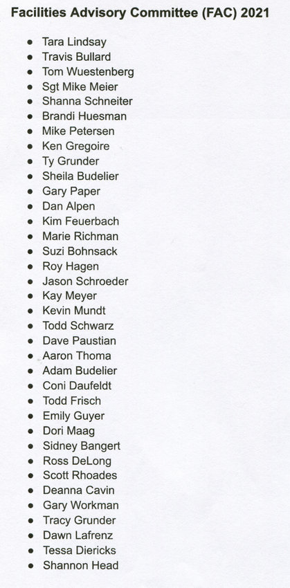 Members of the Durant Facility Advisory Committee (FAC) as submitted via the school board. It was noted some names may have been omitted due to some members failing to accept by meeting time.
