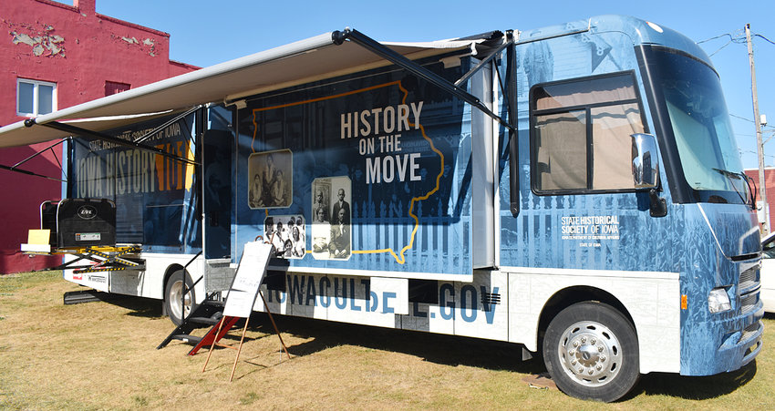 The State Historical Society of Iowa's mobile museum pictured at the green space next to the Wilton Candy Kitchen in downtown Wilton on the last day it was open. It was parked on the green space during Wilton Founders Day weekend, and was open Aug. 20-22.