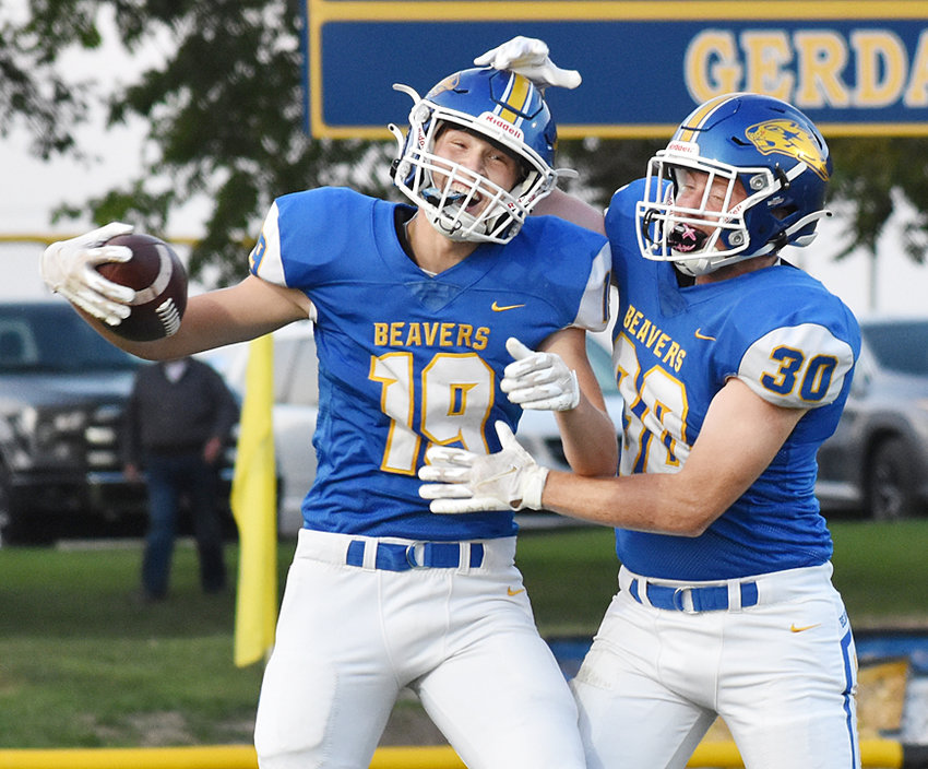 Caden Kirkman and Jackson Hull both found the end zone Sept. 10 in Wilton's homecoming 39-14 win over Highland. Kirkman (left) caught a touchdown pass on the Beavers' first play from scrimmage, and celebrated with Hull, who would score three touchdowns on the night as Wilton moved to 3-0 on the season.