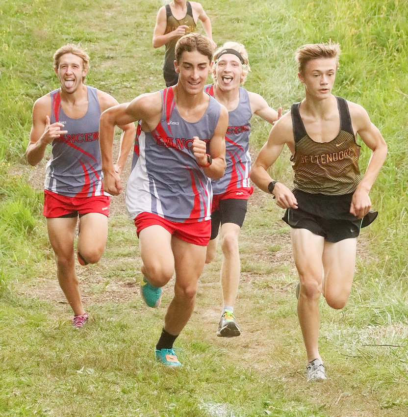 Lancers (l-r) Luke Crawford, Nik Davis and Logan Soedt must've known it was going to be a good night, as they smiled and posed for the camera early in the race.
