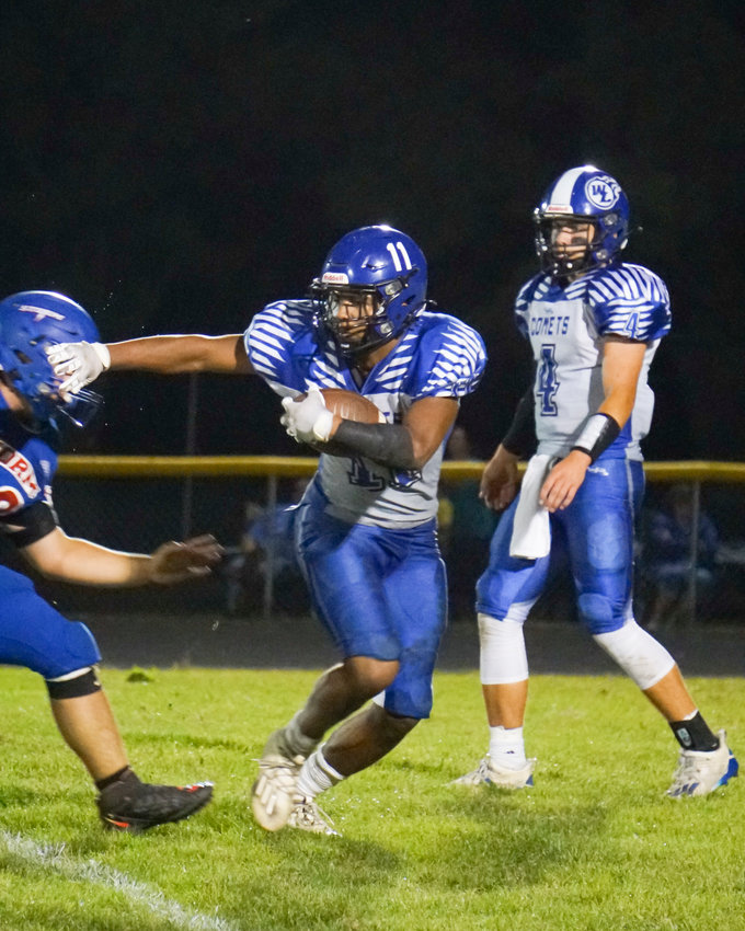 Jahsiah Galvan ran for a school record 350 yards on 30 carries in a 44-26 loss to hosting Camanche.