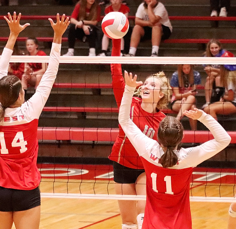 Junior Lauren Golinghorst contributed six kills to North Scott's offensive attack in the win over West.